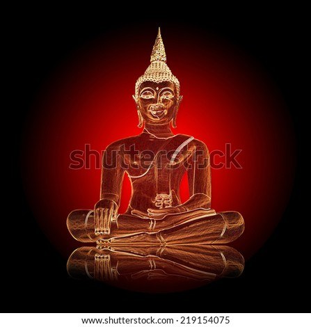 Shiny buddha illustration against dark background - stock photo