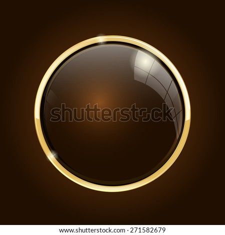Shiny button . Isolated on brown background. Raster version - stock photo