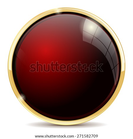 Shiny button red . Isolated on white background. Raster version - stock photo