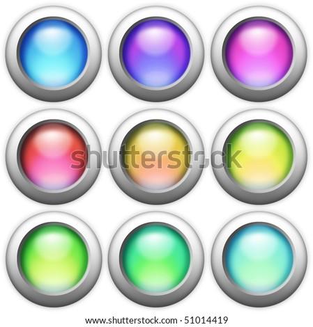 shiny button set - stock photo