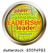 Shiny button with metal frame of wordcloud related to word 'leadership' - stock photo