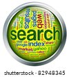 Shiny button with metal frame with wordcloud related to word 'search engine' - stock photo