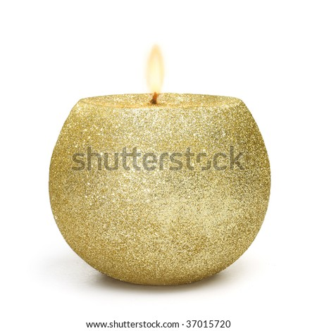 Shiny candle lighting on withe background in gold color - stock photo
