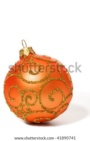 Shiny Christmas ball toy isolated on white background