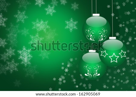 Shiny Christmas balls illustration in green