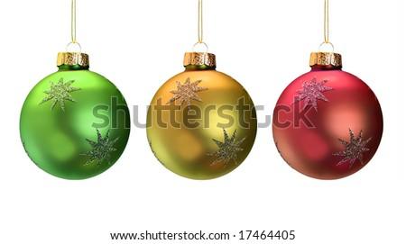 Shiny Christmas ornaments isolated on white. - stock photo