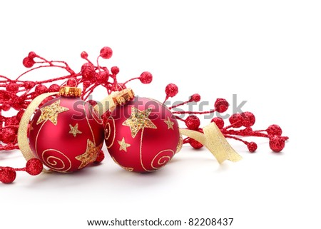 Shiny Christmas Ornaments on White - stock photo