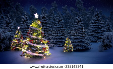 shiny christmas tree before snow covered forest at night - Snow Christmas Tree