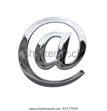 Shiny chrome at symbol isolated on white - stock photo