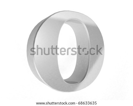 shiny chrome letter O on a white isolated background - 3d rendering