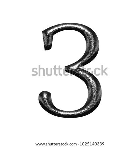 Shiny chrome metal style number three 3 in a 3D illustration with a rough chiseled texture and dark silver finish in a classic font isolated on a white background with clipping path.