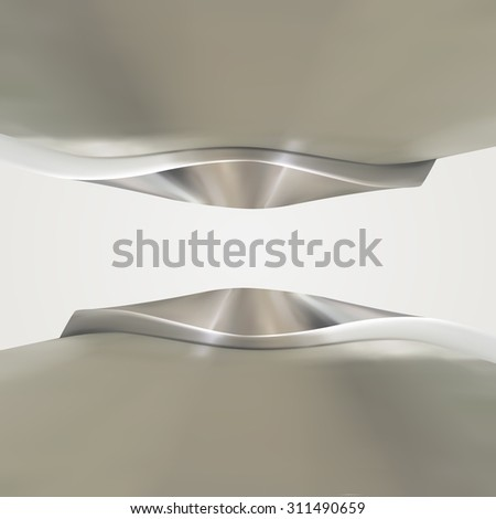 Shiny chrome metallic frame with abstract curves - stock photo