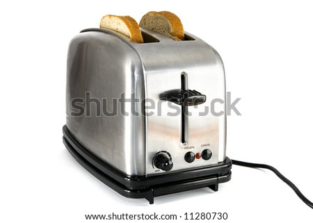 Shiny chrome toaster with two slices of bread, on white background - stock photo