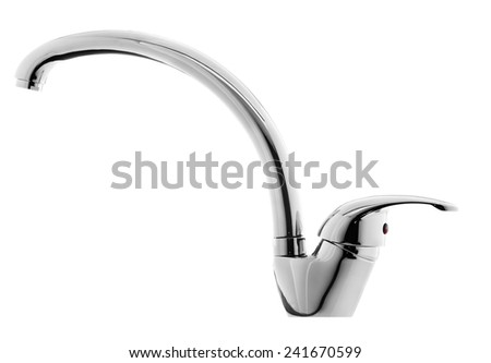 Shiny Chrome Water Faucet Isolated on White Background - stock photo