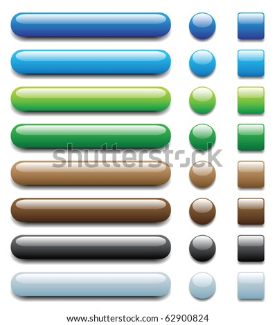 shiny colorful buttons, with dark and light tones, another set with different colour is in my profile. - stock photo