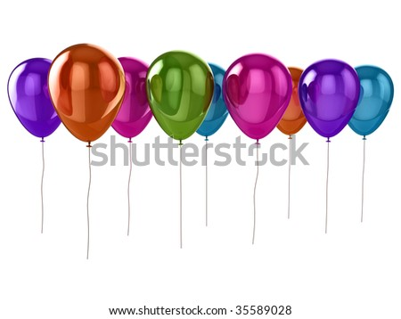 Shiny coloured (colored) balloons isolated on a white background