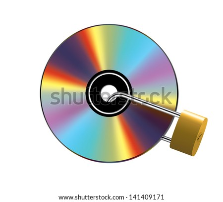 Shiny compact disc locked with metal padlock - stock photo