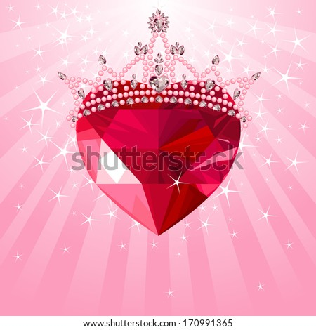 Shiny crystal love heart with princess crown  on radial background. Raster version - stock photo