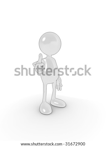 Shiny 3d cartoon character in 'thumbs up' approval pose. - stock photo