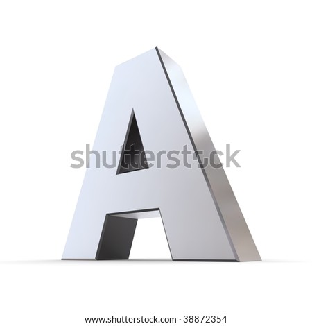 shiny 3d letter A made of silver/chrome - stock photo