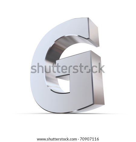 shiny 3d letter G made of silver/chrome - stock photo