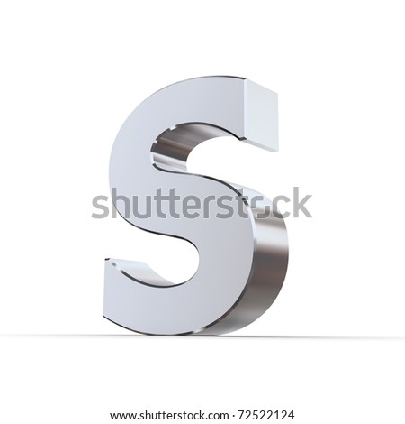 shiny 3d letters S made of silver/chrome - stock photo