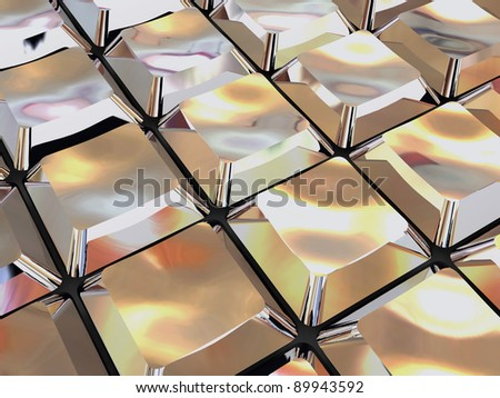 shiny 3d metallic background with computer keyboard buttons - stock photo