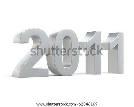 shiny 3d new year 2011 made of metal - stock photo