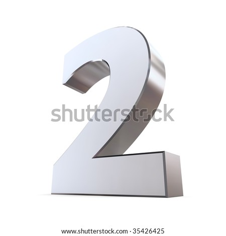 shiny 3d number 2 made of silver/chrome - stock photo