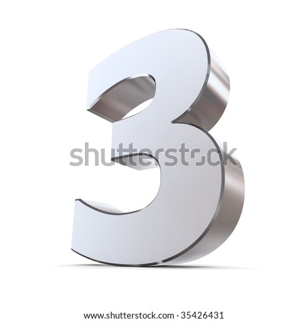 shiny 3d number 3 made of silver/chrome - stock photo