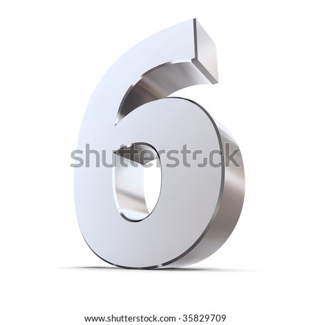 shiny 3d number 6 made of silver/chrome - stock photo
