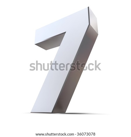 shiny 3d number 7 made of silver/chrome - stock photo
