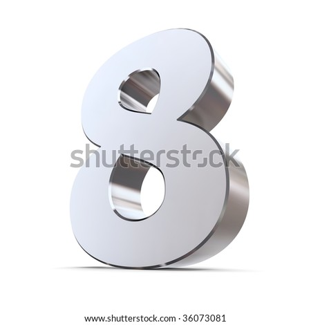 shiny 3d number 8 made of silver/chrome - stock photo