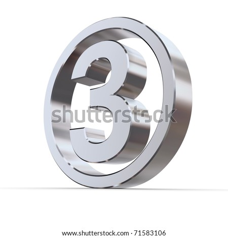 shiny 3d number 3 made of silver/chrome in a metallic circle - stock photo