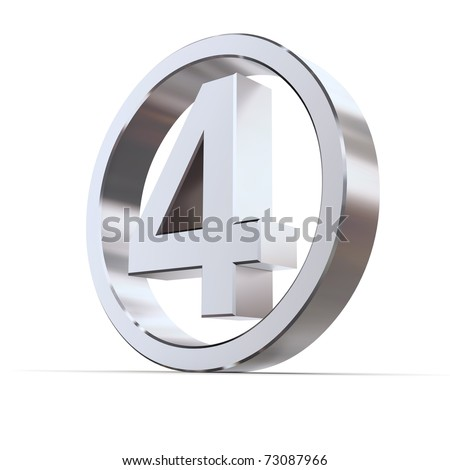 shiny 3d number 4 made of silver/chrome in a metallic circle - stock photo
