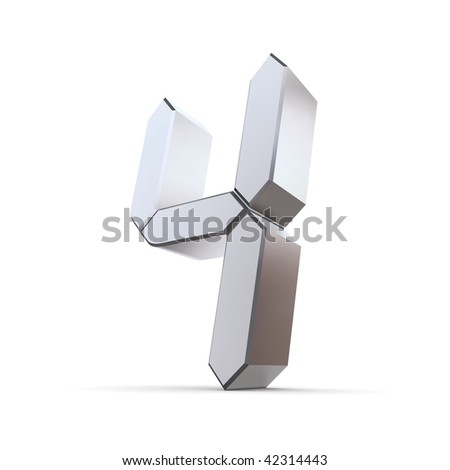 shiny 3d number 4 made of silver/chrome - LCD digit look - stock photo