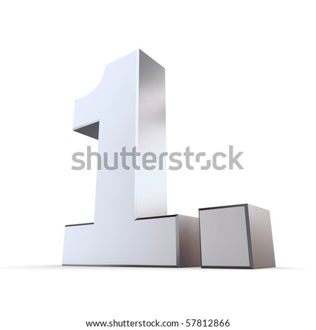 shiny 3d number 1st made of silver/chrome - 1. with angular dot - stock photo
