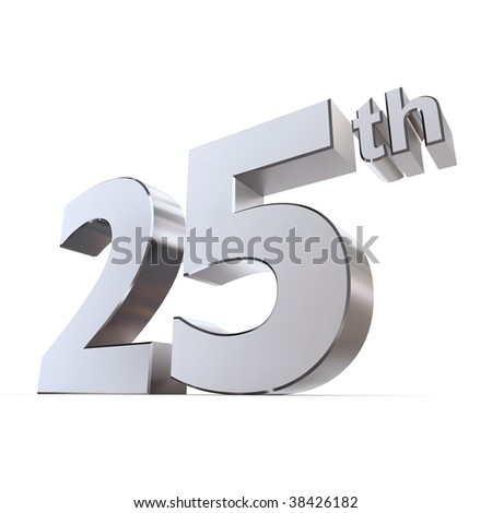 shiny 3d number 25th made of silver/chrome - silver wedding - stock photo