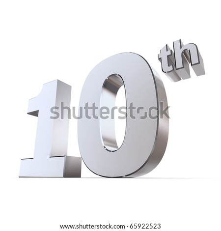 shiny 3d number 10th made of silver/chrome - tin or aluminum wedding anniversary - stock photo