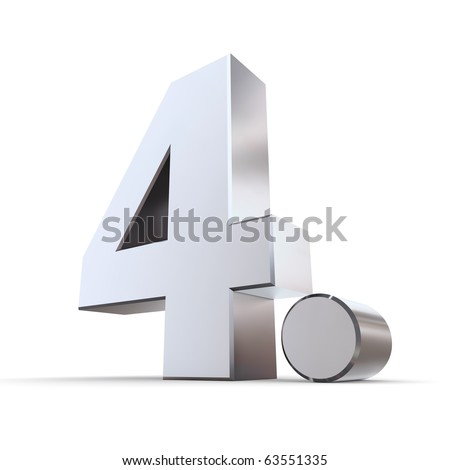 shiny 3d number 4th made of silver/chrome - 4. with round dot - stock photo