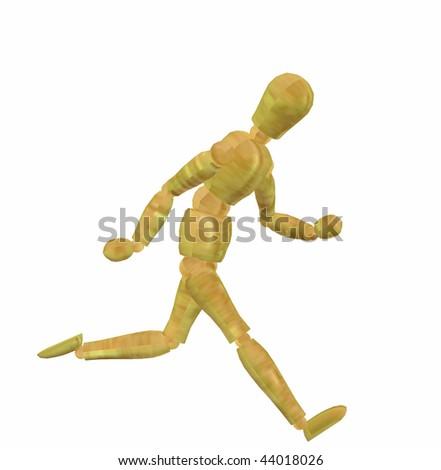 Shiny 3d running figure - stock photo