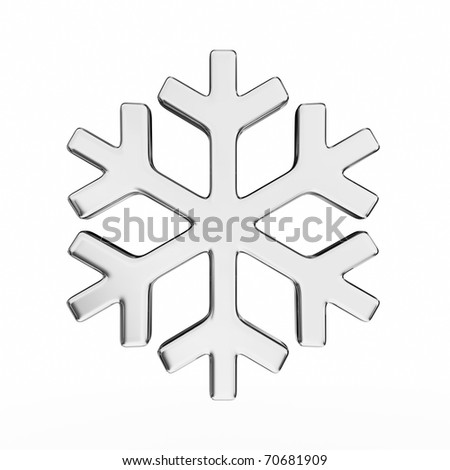Shiny 3d snowflake made of silver and chrome - stock photo