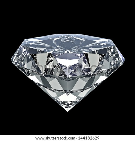 Shiny diamond - isolated on black background - stock photo