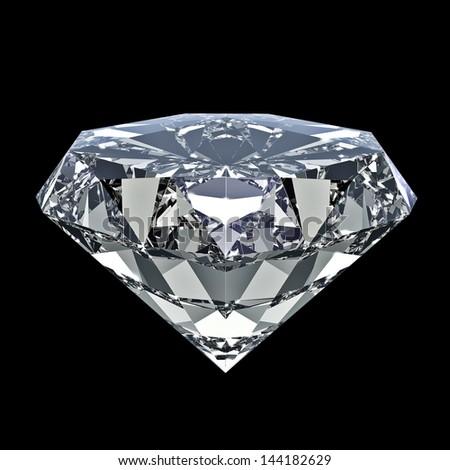 Shiny diamond - isolated on black background - stock photo