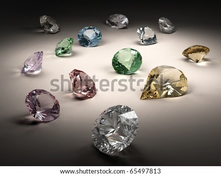 Shiny diamonds in different shapes and colors on dark background