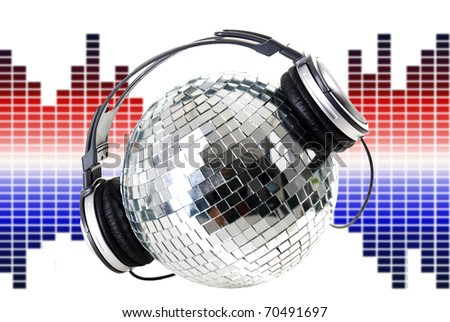 Shiny disco ball and equalizers - stock photo