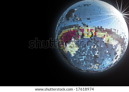 Shiny disco ball on black background - stock photo