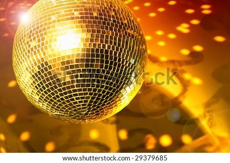 Shiny disco ball on night club close up - stock photo