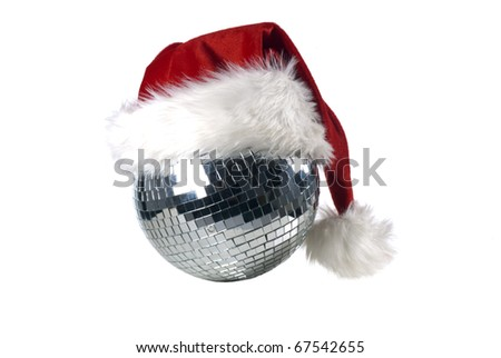 Shiny disco ball with christmas hat - stock photo
