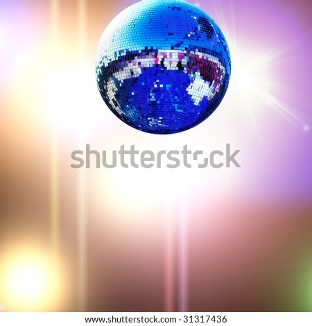 shiny disco ball with colored lights background - stock photo